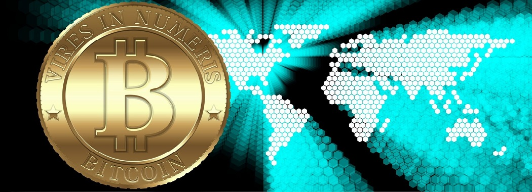 Cryptocurrency coin at the gadget on digital world map background